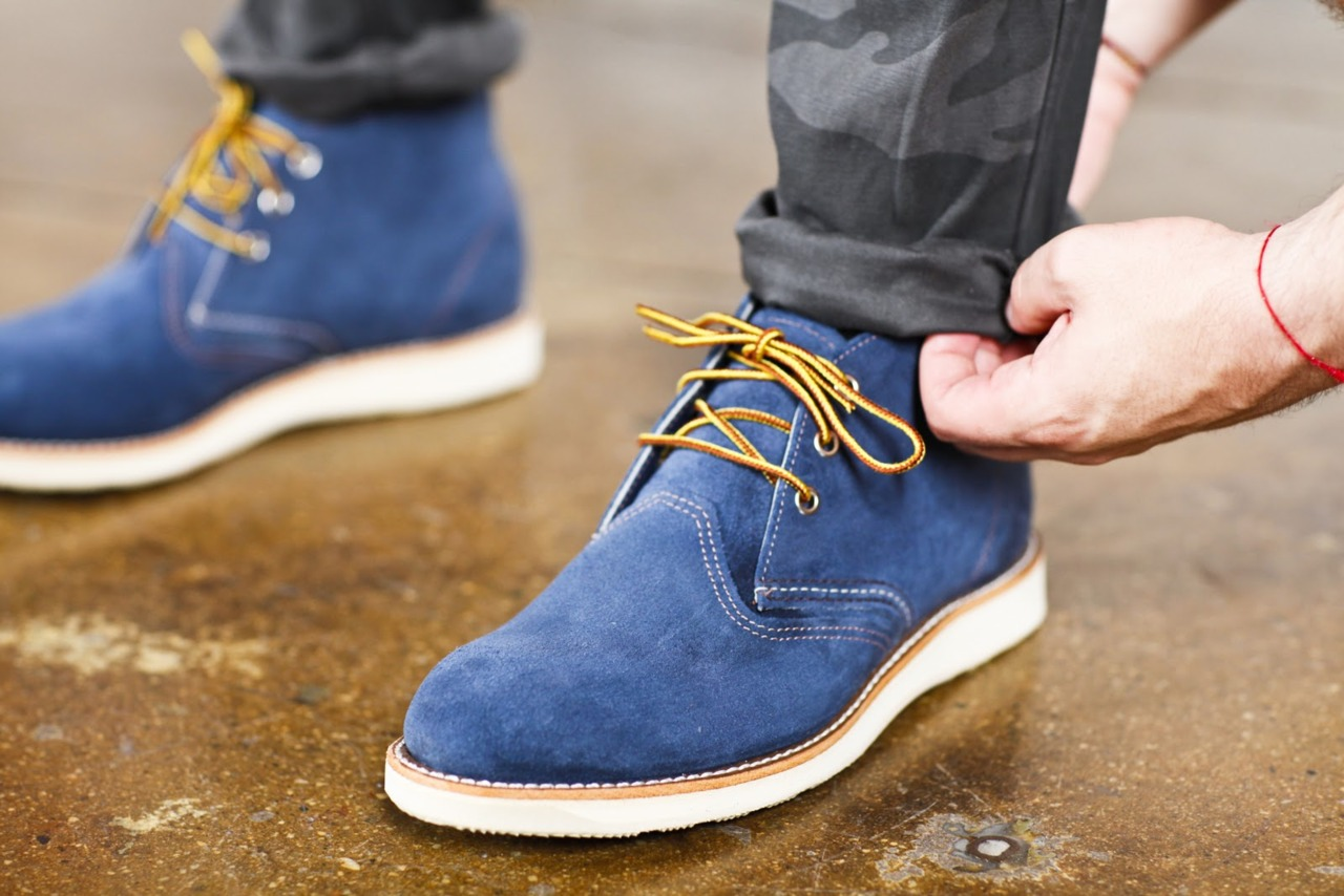 Navy Blue Laces Brown Shoes